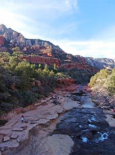 Aerial photo from above the main slide area at Slide Rock State Park in Sedona, AZ