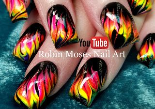 Neon Water Marble Nails without the water! Cool Dry Drag Marble Nail Art Technique! | Nail-art by Robin Moses | Bloglovin'
