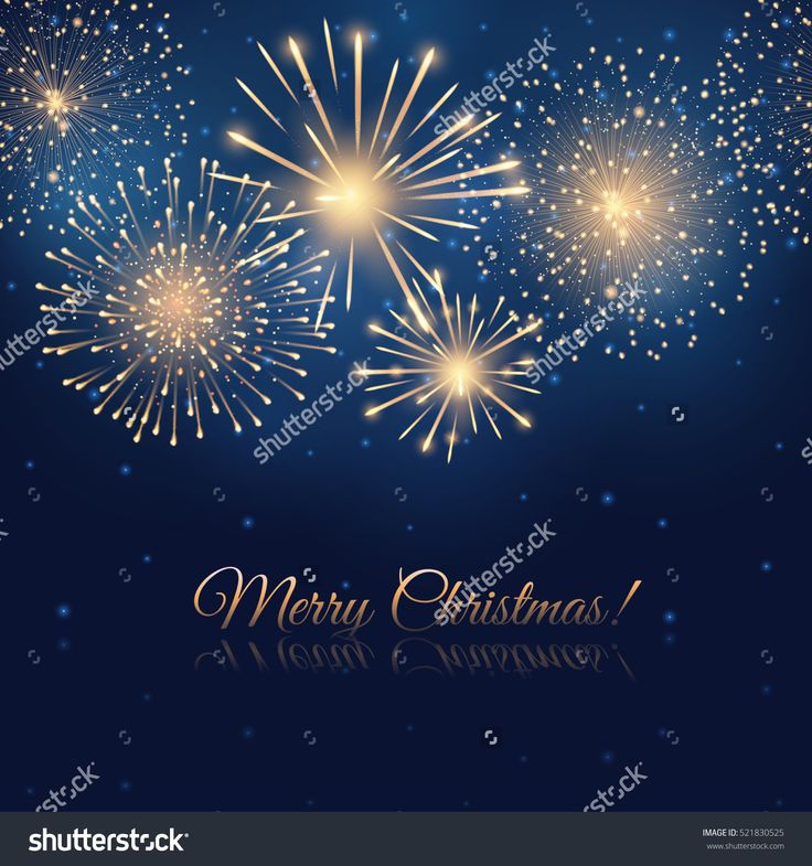 Vector Holiday Golden Fireworks On The Blue Background. Lights For Design Of Festive Posters And Banners For Merry Christmas. File Contains Clipping Mask. - 521830525 : Shutterstock