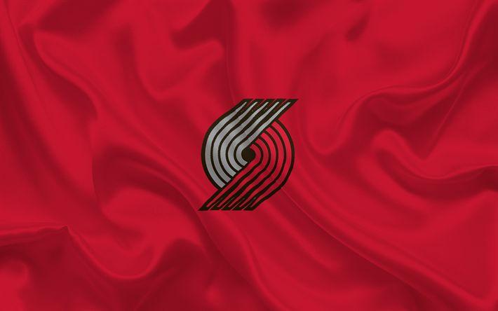 壁紙をダウンロードする バスケット, ポートランドトレイルBlazers, バスケットボール部, NBA, ポートランド, オレゴン州, 米国, エンブレム, ロゴ, 赤い糸