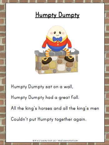 Humpty Dumpty Nursery Rhyme Printable Activities