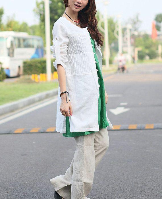 White Linen Shirt Tunic Top for Women Custom Made por camelliatune