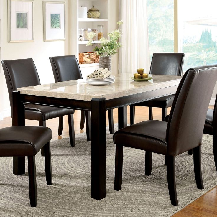 furniture of america friedrich modern 7 piece marble dining table set create a beautiful interior dining space with the lavish furniture of america