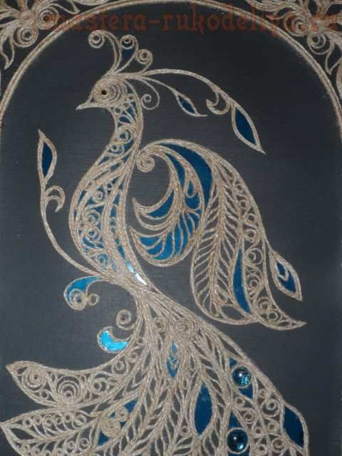 Master class on filigree of jute cord: Firebird and Peacock