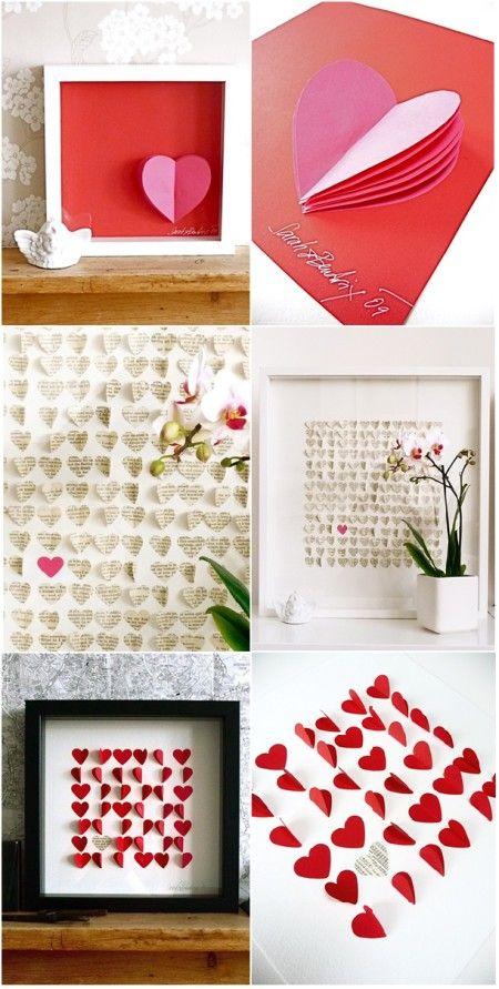 Paper HeartsWall Art, Valentine'S Day, Valentine Crafts, Heart Crafts, Paper Heart, Valentine Ideas, Shadows Boxes, Paper Crafts, Valentine Decor