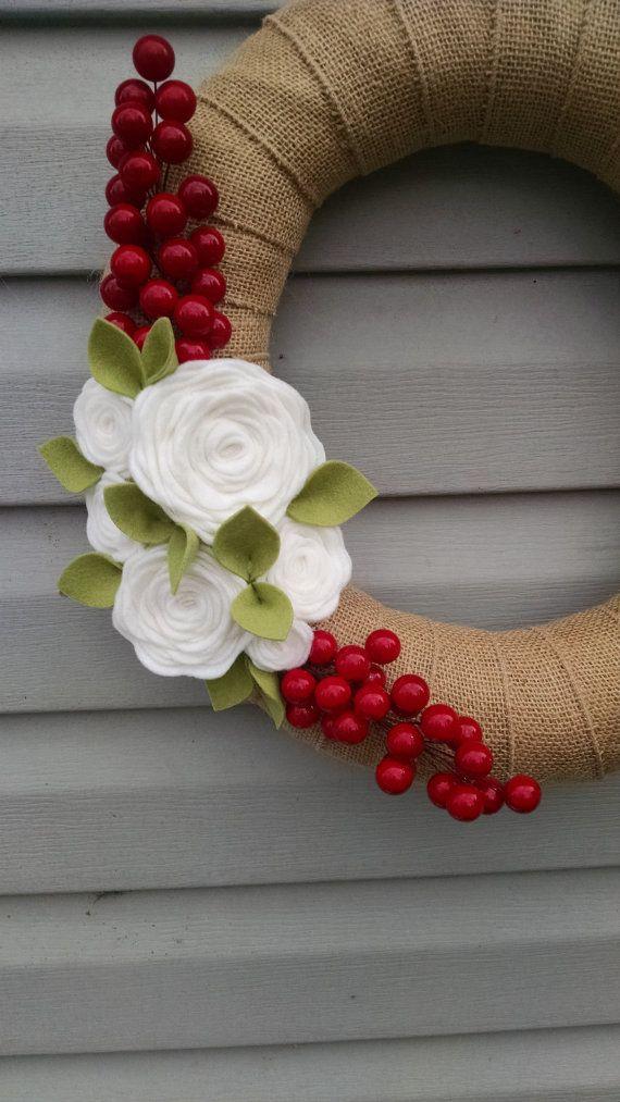 Christmas wreath, modern Christmas wreath, holiday wreath, holiday wreath,Christmas burlap wreath,wool felt flower wreath,winter wreath