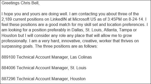 example linkedin message to hiring manager
