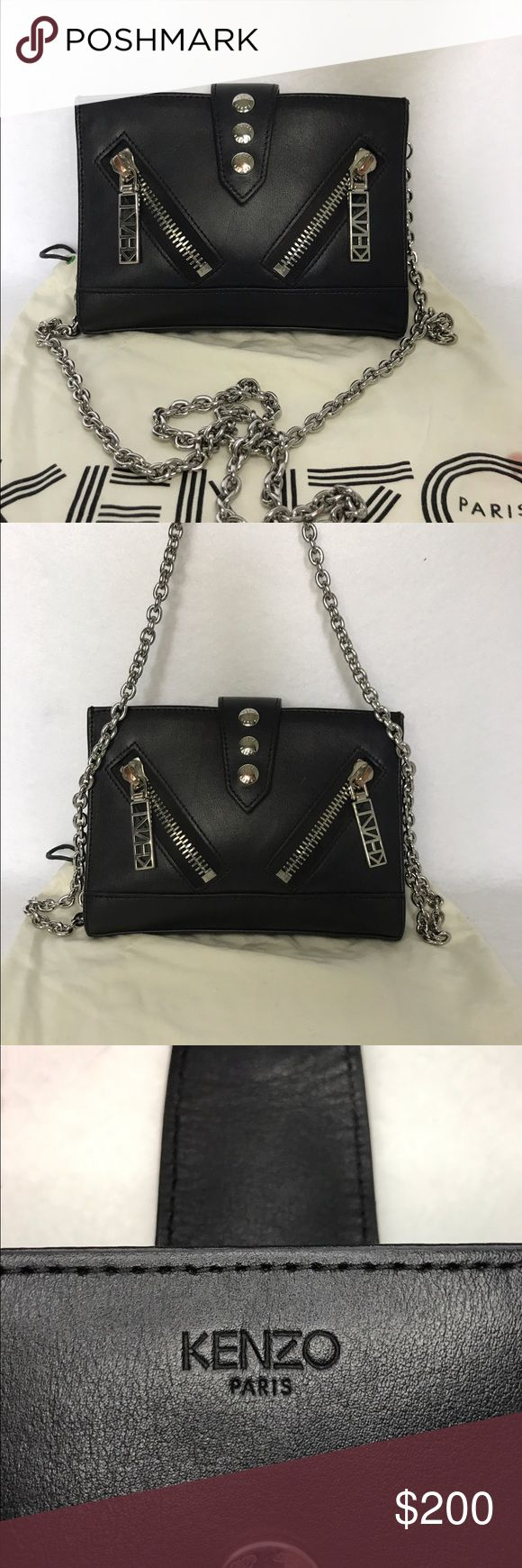 """KENZO Kalifornia Crossbody Chain Bag & Dust Bag Amazing Bag!  Retail:  $325  Only signs of wear: Silver is tarnished a bit on front snaps - not 'chipping' & still shines so it's not easily noticed. See photos.  Height:  5.5"""" Length: 7.5"""" Depth: 2"""" Strap Drop: 23""""  Snap flap covers 1 zip & 3 open compartment - one w/ slots for credit cards. 2 diagonal front & 1 rear zip pockets.  A couple of small spots on Dust Bag.  I carefully wrap each item & only ship my bags in boxes - no plastic or…"""