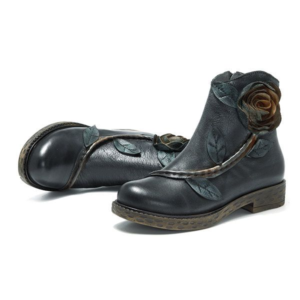 SOCOFY Sooo Comfy Vintage Handmade Rose Ankle Leather Boots