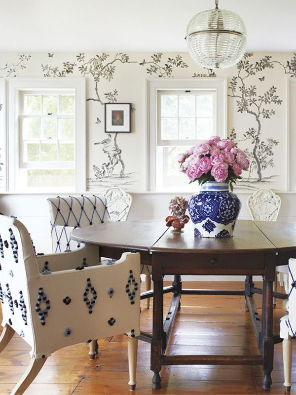 A Fun Mix Of Antique And Fresh Textile Textures In The Dining Room