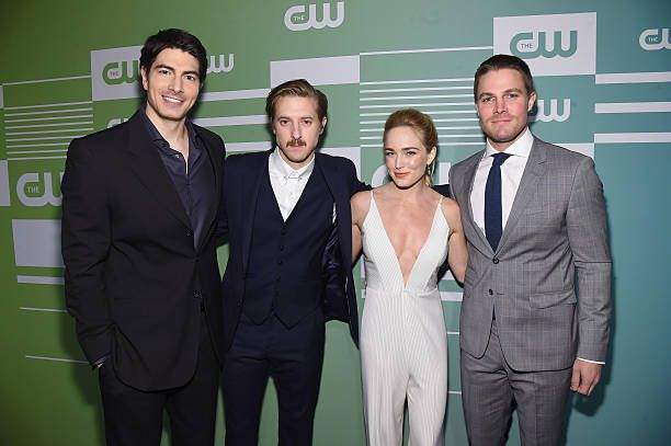 NEW YORK, NY - MAY 14: (L-R) Actors Brandon Routh, Arthur Darvill, Caity Lotz and...