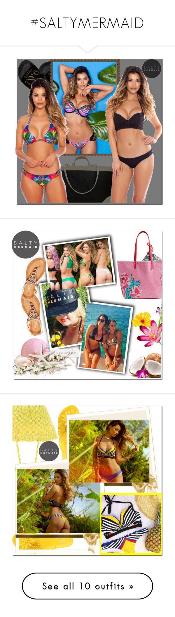 """#SALTYMERMAID"" by fatimka-becirovic ❤ liked on Polyvore featuring Dolce&Gabbana, bikini, swimwear, saltymermaid, DbDk, Vera Bradley, Melissa, Salinas, August Hat and Vionic"