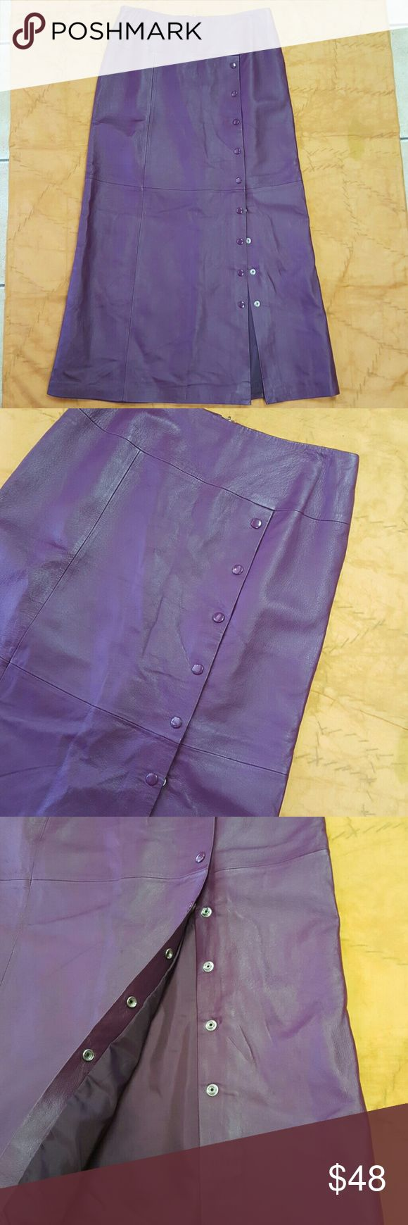 Gorgeous 100% Leather Maxi Skirt! All leather purple maxi skirt! Top three buttons are faux, otherwise it buttons down from there. Beautiful pre-owned condition. Perfect for Fall! Skirts Maxi