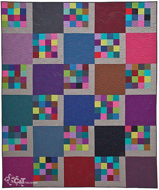 Modern 16-patch quilt, in: Get Addicted to Free-Motion Quilting by Sheila Sinclair Snyder