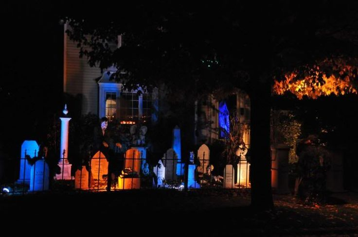 Graveyard Lighting Tips:  jdubbya: ..one of the problems is over-lighting a Halloween display, to the point it looks Christmasy. They gradually cut back on lighting so that the props are all visible but the aura of darkness is still dominant (They use simple colored floods and have had pretty good results.) #yardhaunt