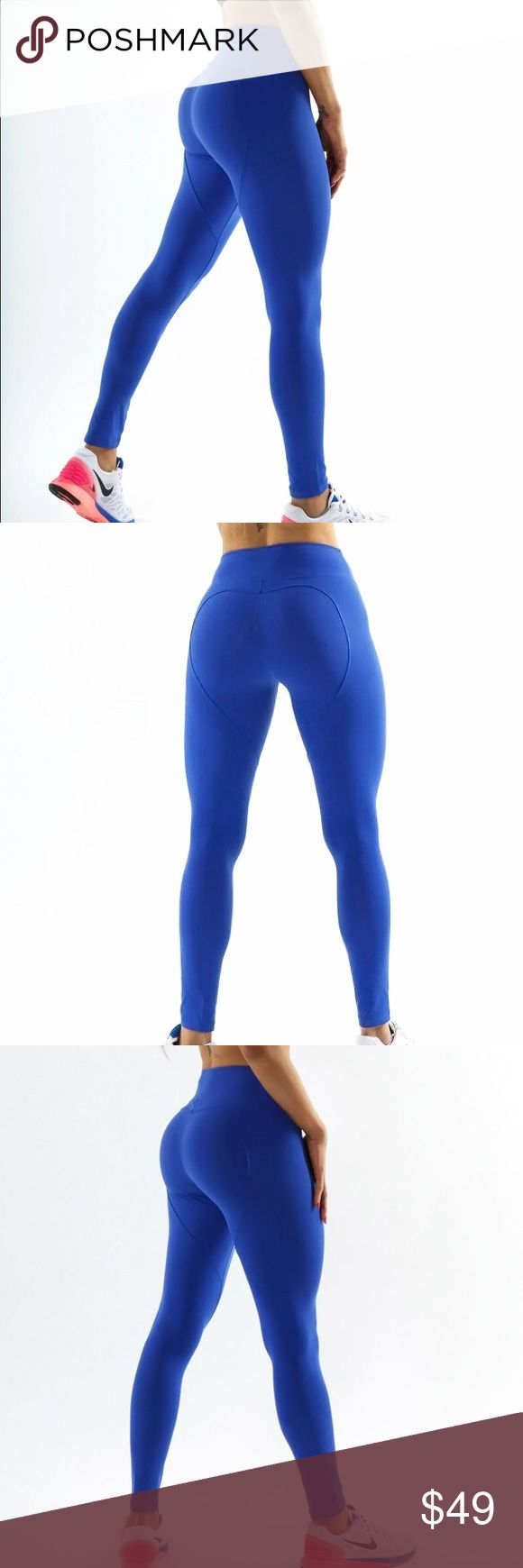 Royal Blue Leggings Description from manufacturers website: Heart Shape Buttoms  High Waisted Support  100% Supplex jfitness wear Pants Leggings