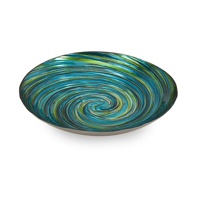 "Coastal Swirl Decorative Glass Bowl In beautiful, rich and bright greens and blues, this Coastal Swirl Decorative Glass Bowl will make a great impression in any room. DETAILS: Measures: 16.25"" Diamete"