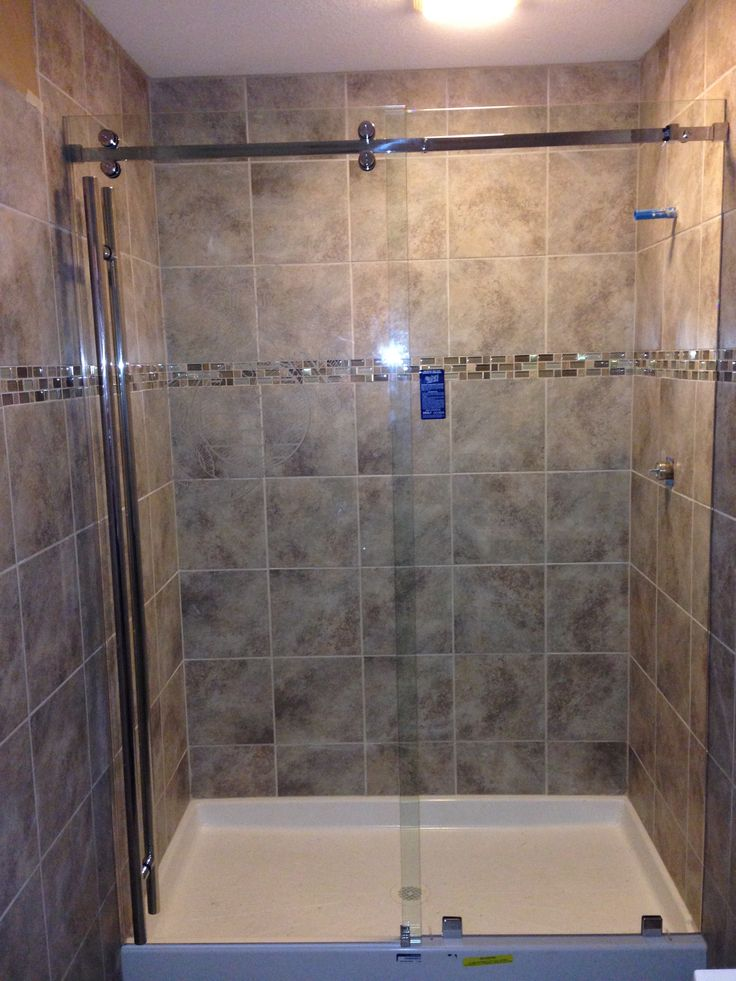Frameless Serenity Series Shower With A Sliding Panel Door
