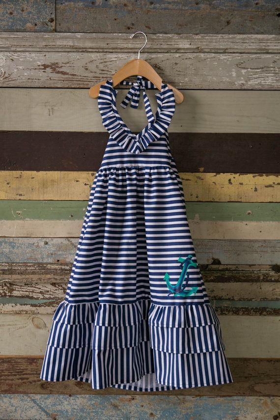 Back to School SALE Girls Nautical Stripe Maxi Dress
