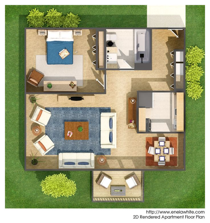 Rendered Floor Plan Floor Plan Rendering Drawing