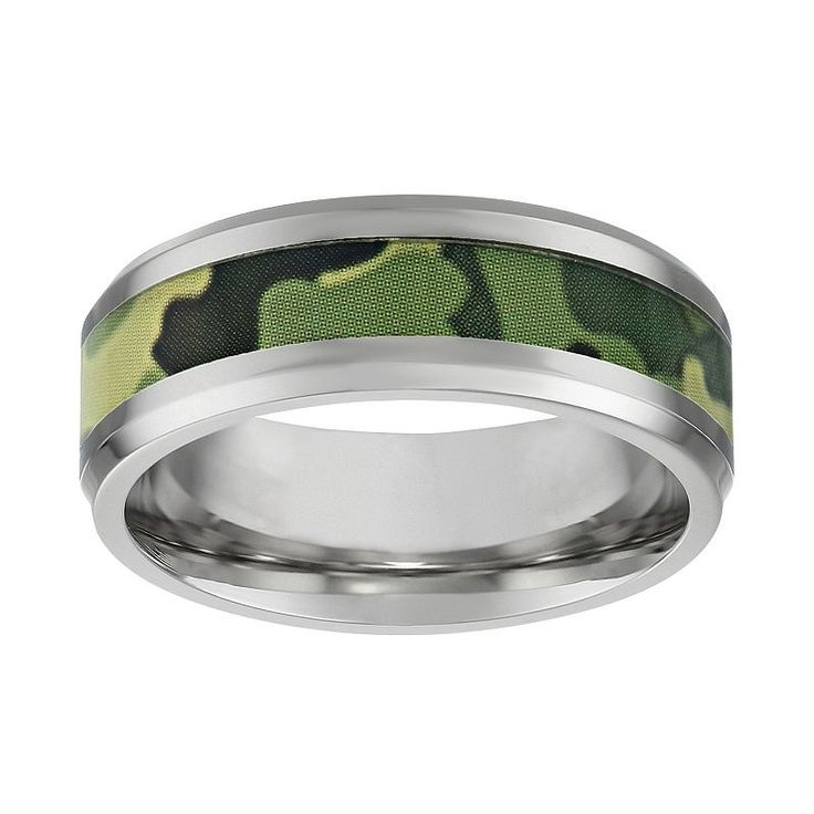 Lynx Stainless Steel Camouflage Band - Men, Size: 11, Green