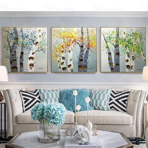 3 Pieces Green Tree Painting Framed Canvas Wall Art For Living Room Wall Decor Bedroom Home Original Handmade Acrylic Abstract Landscape In 2021 Wall Decor Bedroom Landscape Wall Decor Living Room Pictures Framed photos for living room
