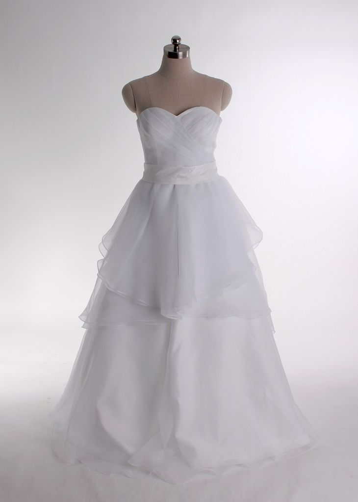 Strapless A-line Cathedral Train Scalloped Edge Wedding Dress,wedding dress