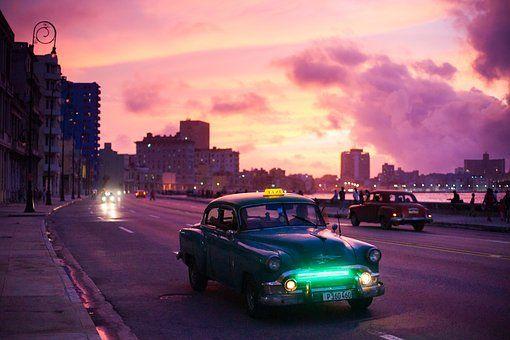 Havana, Carro, Noite, Nascer
