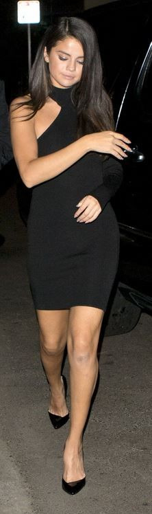 Who made  Selena Gomez's black one shoulder dress and pumps?