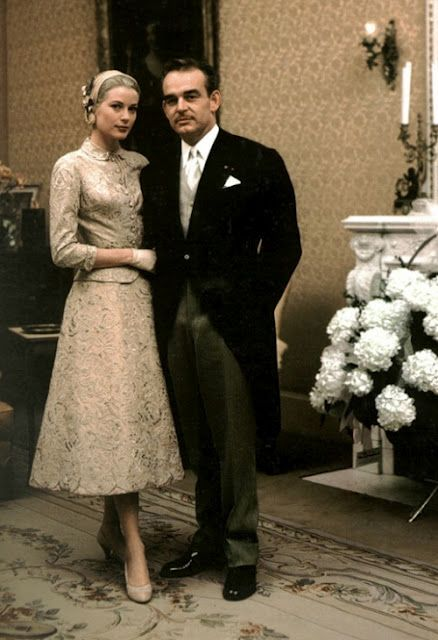 lovely champagne-colored lace dressGrace Kelly wore for her civil wedding ceremony.