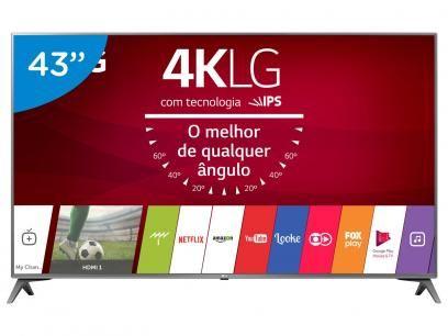 """Smart TV LED 43"""" LG 4K/Ultra HD 43UJ6565 webOS - Conversor Digital 2 USB 4 HDMI com as melhores condições você encontra no Magazine Eduardorrosa. Confira!"""
