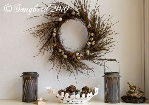 homemade twig wreath decorated for the season: A Spring and Easter mantel decor
