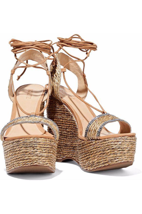 SCHUTZ Aveline crystal-embellished woven jute wedge sandals