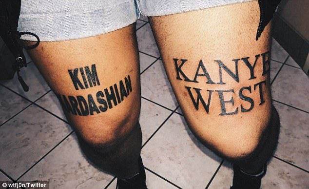 Leg-end: Kim Kardashian has praised a fan who got her and husband Kanye West's names tattooed on each thigh