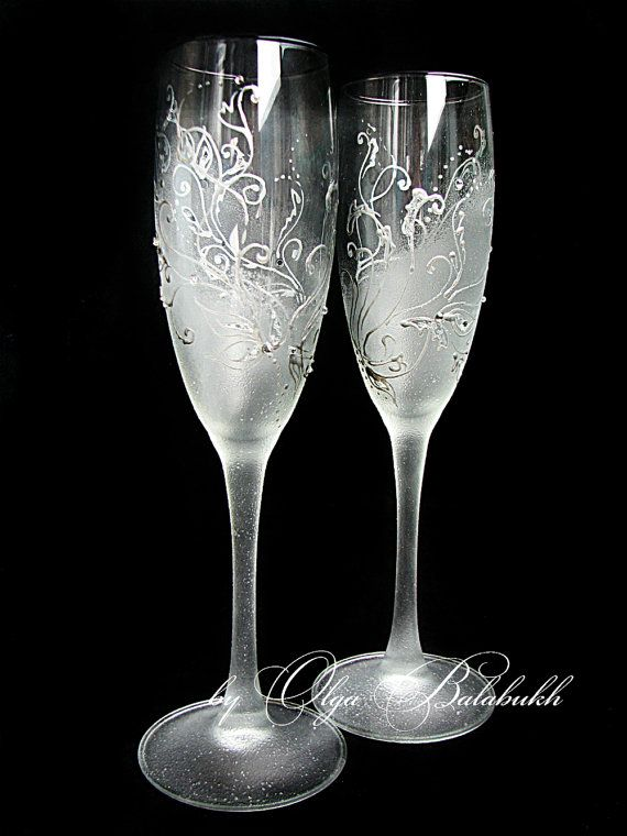 Frosty Wedding Champagne Glasses Hand Painted Silver