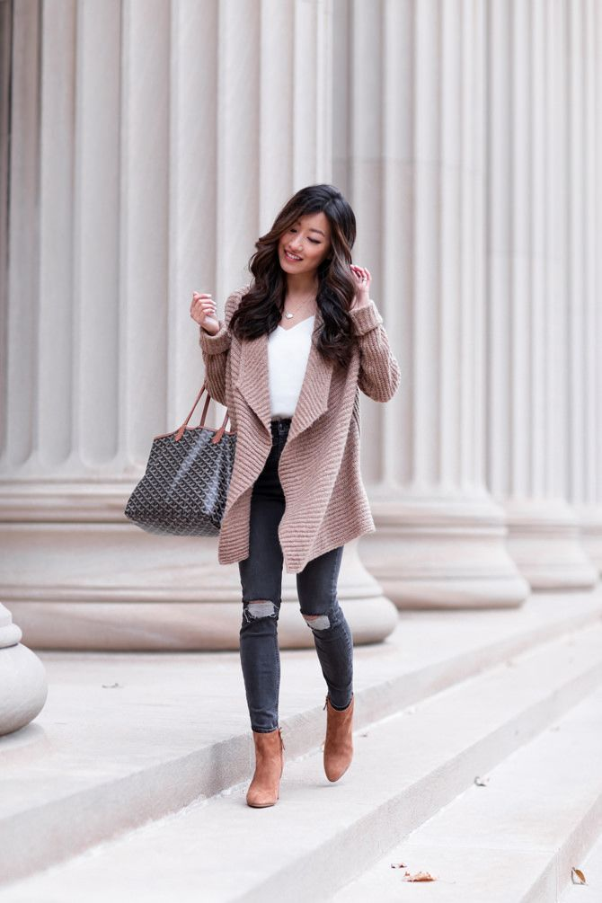 brown ankle boots + cozy drape cardigan sweater + goyard tote bag // petite winter fashion ideas