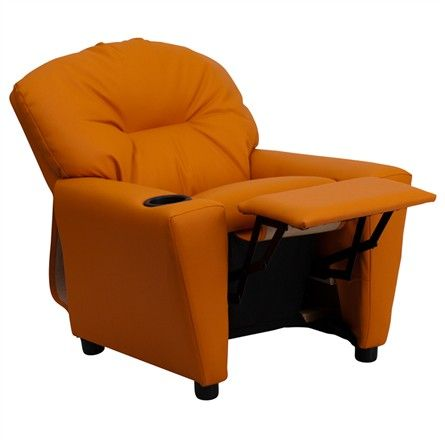 The Modern Kids' Orange Vinyl Recliner with Cup Holder will become your child's favorite perch!