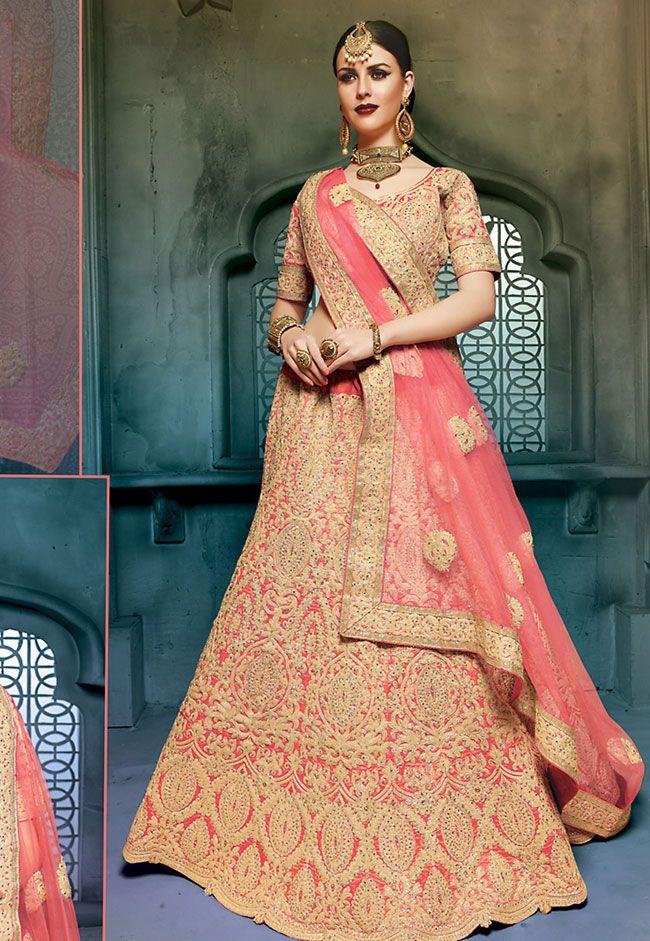 Splendid #Pink #Bridal Lehenga Choli @ http://www.indiandesignershop.com/product/splendid-pink-bridal-lehenga-choli/