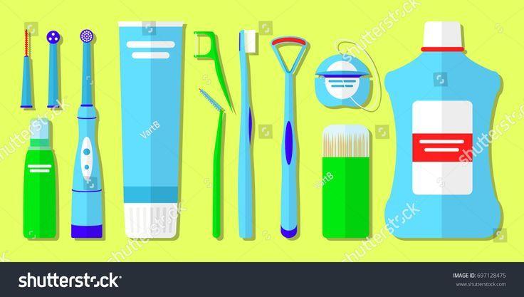 Set Mundpflegeprodukte Werkzeuge Reinigung Lager Vektor Royalty