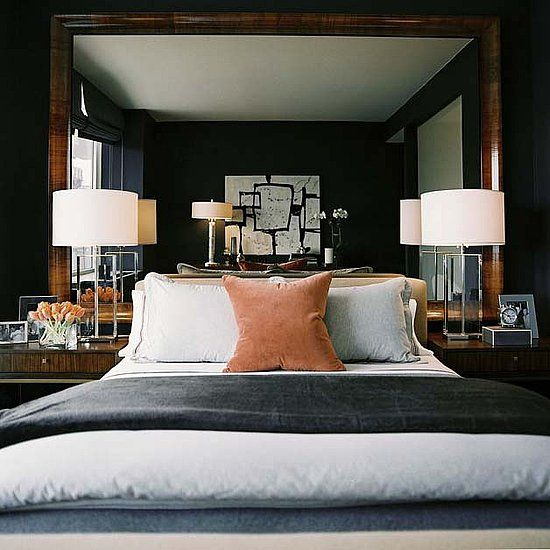 alternative for a headboard? hanging a large mirror!