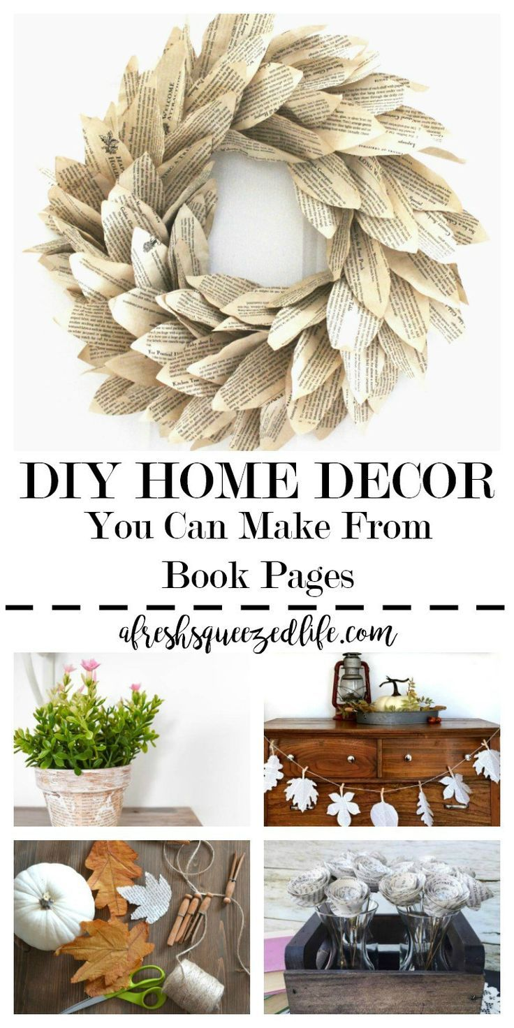 DIY HOME DECOR FROM BOOK PAGES  Diy home decor projects, Handmade