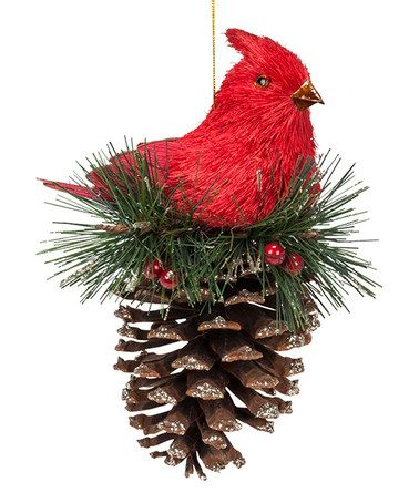 Loving this Red Cardinal on Pinecone Ornament on #zulily! #zulilyfinds