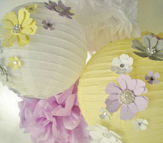 Lavender gray light yellow lantern with flowers by DellaCartaDecor