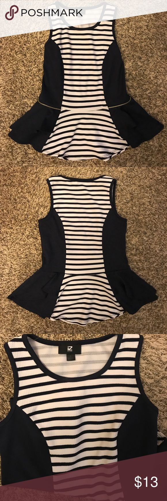 Blue and White Striped Peplum Shirt Blue and white professional peplum tank / shirt. Lovely material and super cute to wear to work! Great condition Iz Byer Tops Tees - Short Sleeve