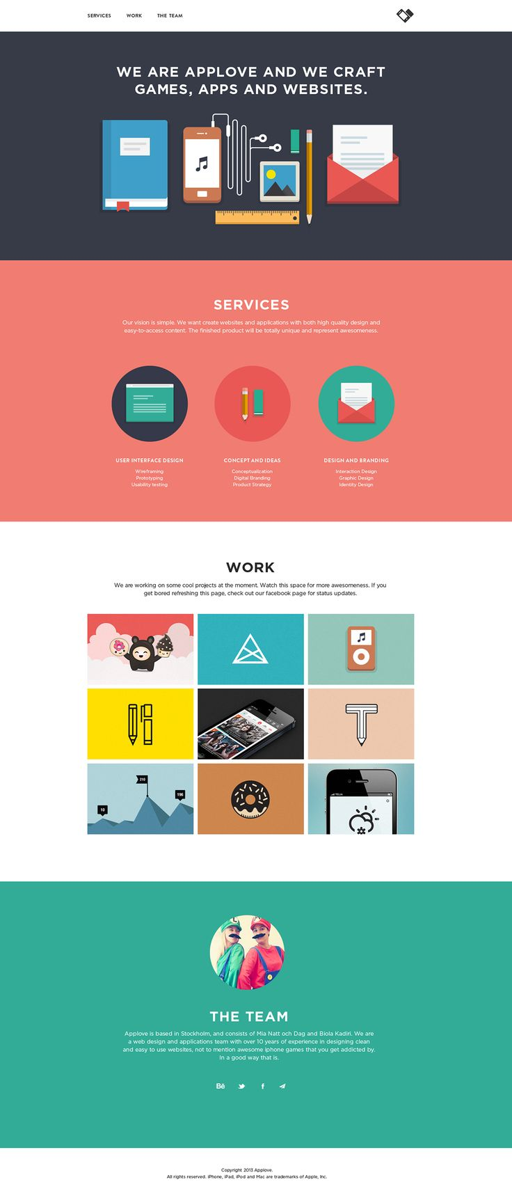 Clean responsive flat design in this one pager for App Love - the portfolio of designers Mia Natt och Dag and Biola Kadiri.
