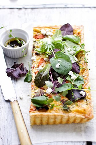leek, baby broccoli, smoked salmon and goat cheese herb tart by cannelle-vanille, via Flickr