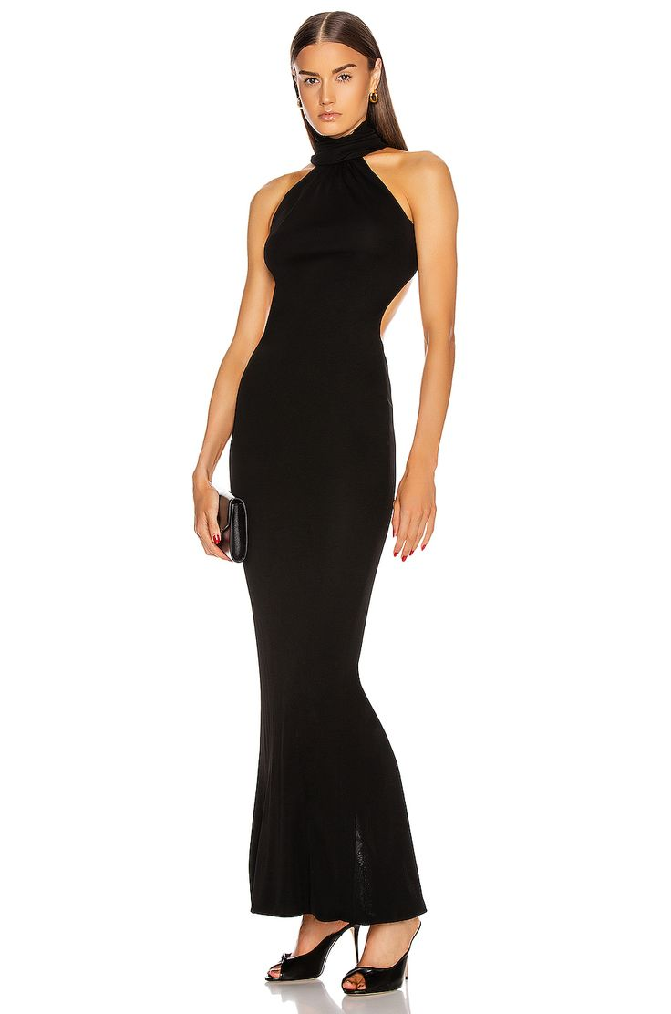 Brandon Maxwell High Neck Backless Gown in Black FWRD in