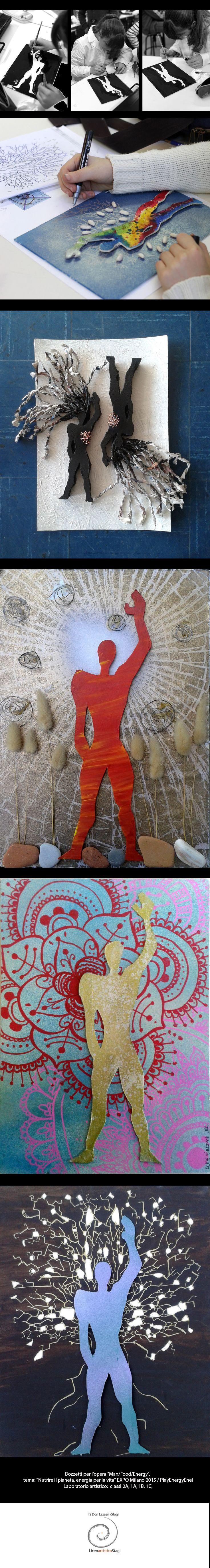"""Bozzetti per l'opera """"Man/Food/Energy"""", tema: """"Nutrire il pianeta, energia per la vita"""" EXPO Milano 2015 / PlayEnergyEnel. Laboratorio artistico: elaborati ideati e realizzati dagli allievi delle classi 2A, 1A, 1B, 1C del Liceo artistico """"Stagio Stagi"""" di Pietrasanta."""