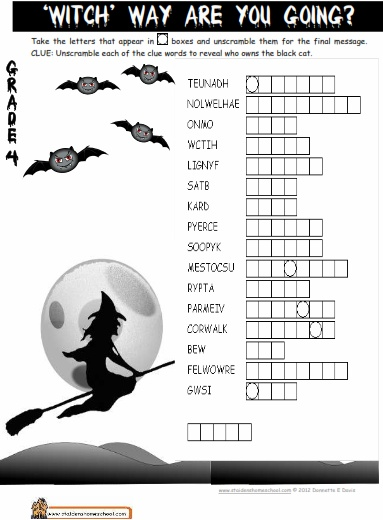Classroom Ideas For Halloween Party ~ Halloween cryptic puzzle worksheets printables