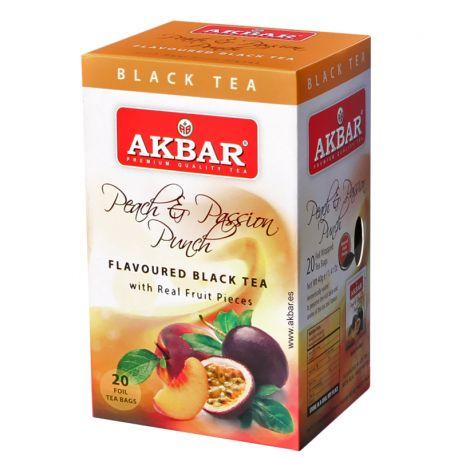 Té negro Akbar con trozos de fruta sabor Peach&Passion Punch